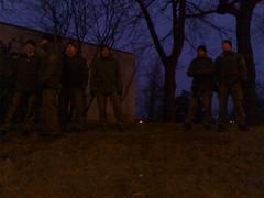 Polizei bewacht Gesträuch