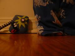 another cuddle-buddy [day 29/365] () Tags: shadow selfportrait me wall floor pants teeth explosion plush homemade tounge eeyore checkered pajamas tar hardwood deformed 365days 10secondtimer cuddlebuddy