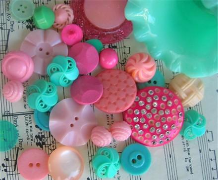 Vintage Buttons - Pink & Aqua