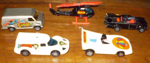 Super Corgi Juniors cars featuring Joker, Penguin, Supervan, Batcopter and the Batmobile