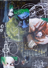 Arkham Asylum Joker Collage (R) Tags: eye collage dave dark painting paint acrylic geometry teeth evil grin joker knight scratch asylum davemckean mckean rauschenberg arkham arkhamasylum