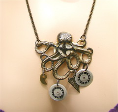 Octo Deconstructed Necklace II (MadArtjewelry) Tags: necklace assemblage ooak goth victorian lolita octopus foundobjects etsy clockworks brass steampunk riveted handfabricated madartjewelry steamteam