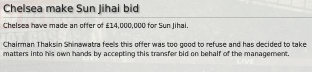 Chelsea make Sun Jihai bid