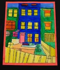 """Mt. Pleasant Homes"" (rockcreek) Tags: painting washingtondc dc paintings mountpleasant dcist 2008 rowhouse rowhouses dcpl districtofcolumbiapubliclibrary mountpleasantlibrary mountpleasantneighborhoodlibrary friendsofthemountpleasantlibrary mountpleasantyouthartsfair"