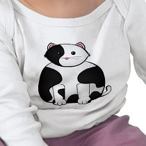 Frazzle the Cat Baby T-Shirt (fraz-t01) (frozenfa) Tags: cats baby white black flower fashion cat happy design cow designer creative kitty accessories karin custom brand unisex vector collaboration apparel teamwork frazzle zazzle onlineshopping zazzlecom onlinestore onlineshop frozenfa