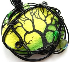 Twilit Forest Pendant no. 8 (Sojourn Curiosities) Tags: black watercolor oneofakind goth jewelry etsy pendant yellowgreen otherworldly miniaturepainting twilightsky wirewrapped foresttree darkfairytale steamteam