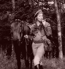 Rendezvous (Cigar Lady) Tags: horse woman mystery female vintage soldier uniform boots wwii cigar smoking messenger braids equestrian reenactment cavalry usarmy anothertimeanotherplace