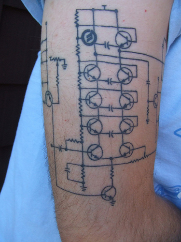 remember the Moog Ladder Filter tattoo? Here it is healed.