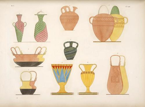 14-Jarrones de oro, esmalte y otros diversos materiales, pintados en las tumbas tebanas