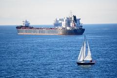 Sailing (kimmacpherson) Tags: sailing sail sailboat sailingboats cargoboat cargoship vancouver ocean pacificocean nature scenery sonya6300