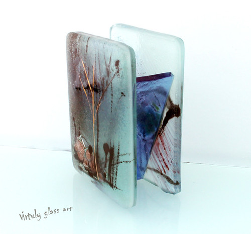 landscape series-Two Different sides Fused Glass PAINTED Toothpick Holder. by virtuly art in glass