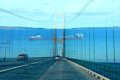 Mackinac Bridge - 50th Anniversary (smiles7) Tags: bridge cars water michigan mackinacbridge mackinac 50thaniversary frieghter theperfectphotographer