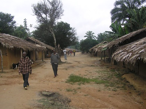 The high street of Obenge on a busy day