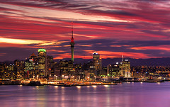 Auckland Harbour sunset (Kenny Muir) Tags: new city sunset tower skyline long exposure minolta harbour auckland zealand 5d dynax aotearoasky