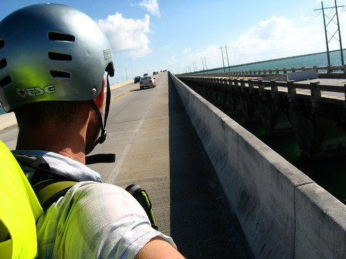 Narrow, stony shoulder on bridge in the Florida Keys, USA