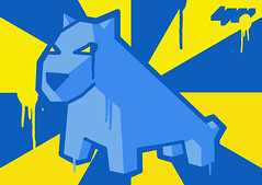 Blue & Yellow... (LukeDaDuke) Tags: blue yellow design sticker stickers drip adobe sw illustrator drips adhesivo autocollant adobeillustrator etiqueta cs3 foob paintdrip  lukedaduke paintdrips stickerwar stickerdesign  autoadesivo