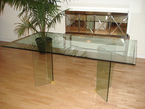 All Glass Dining Table with Beveled Edge