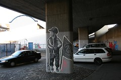 Soccer Boy, Paste Up (Pingu auf Crack) Tags: street urban streetart pasteup art cars out poster graffiti switzerland fan paint fussball cut swiss tag basel kind autos fc plakat junge beton 1893 fcb kleister