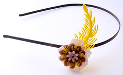 Brown, Yellow and White Vintage Flowers Headband