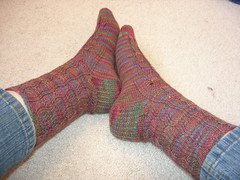 Mock Cable Wave Socks
