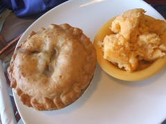 Chicken pot pie and cheesy chipotle potatoes