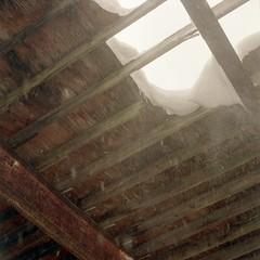 (super ape) Tags: roof winter snow ny newyork tlr barn rollei rural hole decay upstate beam driftwood vb snowfall leak neighbours gossen wny expiredfilm rolleicord bemuspoint lunapro extinctfilm fujinhg400