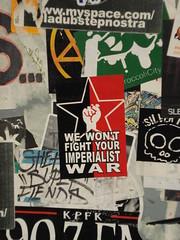 """NMG RIR_Collective """"We Won't Fight Your Imperialist War"""" Sticker LosAngeles StreetArt (anarchosyn) Tags: streetart losangeles sticker stickers stickercombo asyn nmg anarchosyndicalism anarchosyndicalist notmygovernment rircollective anarchosyn wewontfightyourimperialistwar"""