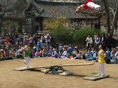 Boing! (Foof n Boof) Tags: girls fun jump seesaw flip folkvillage hanbok midair boing southkorea bounce teetertotter somersault