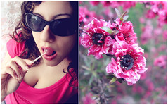 pinkalicious. (*northern star) Tags: old pink flowers portrait people selfportrait black flower verde green me nature girl sunglasses garden diptych candy bokeh outdoor room rosa curls indoor natura sugar persone ricci autoritratto fiori fiore ritratto nero ragazza occhiali week3 zucchero vecchia northernstar caramella donotsteal allrightsreserved leccalecca pinkalicious lollipol 52weeksproject northernstarandthewhiterabbit northernstar theworldinpink usewithoutpermissionisillegal northernstarphotography ifyouwannatakeitforpersonalusesnotcommercialusesjustask