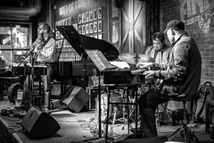 La boîte de jazz (Lucille-bs) Tags: amérique etatsunis usa illinois chicago bw nb musique musicien jazz pianiste batteur guitariste boîtedejazz andys jazzclub