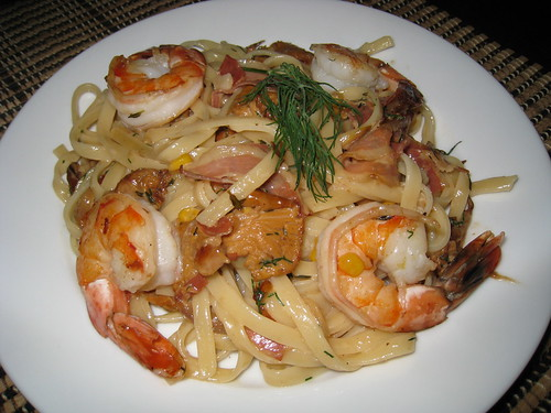Shrimp and Mushroom Fettuccine with Corn and Pancetta on Closet ...