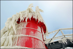 icy beard (Tom Gill.) Tags: winter lighthouse cold ice michigan lakemichigan southhaven lapstrake