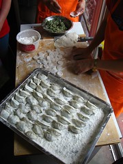 making the dumplings