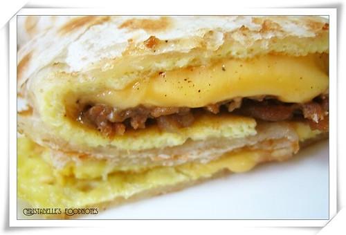 拉亞早餐牛丼起司蛋餅斷面