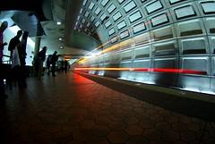 Phantom on rails (philliefan99) Tags: station train subway vanishingpoint metro tunnel fisheye explore dcist tungsten rosslyn arlingtonvirginia concourse metrorail wmata photofaceoffwinner pfogold