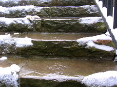 Icy, watery stairs