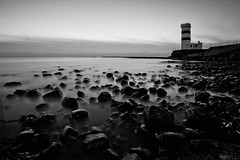 Black&White Mood (skarpi - www.skarpi.is) Tags: ocean longexposure lighthouse beach night coast iceland 5d shorline reykjanes garskagaviti