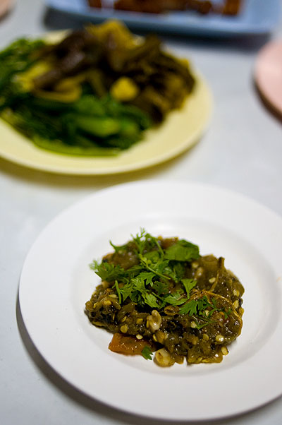 Nam phrik num, a 'dip' of grilled green chilies.