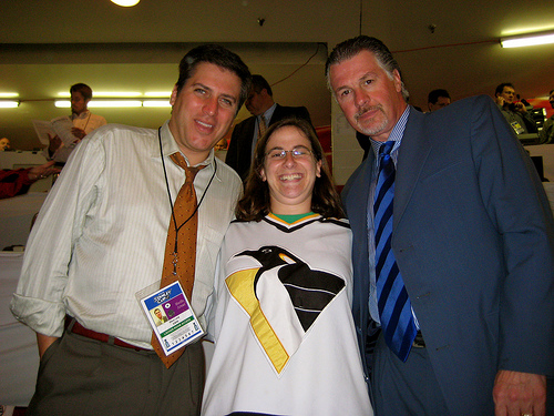 Julie with Barry Melrose and Steve Levy