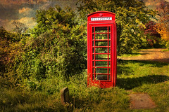 The Phone Box. (Pat Dalton...) Tags: road red sky tree texture grass clouds canon geotagged bush village leicestershire path sigma daisy phonebox laughton 1770mm 450d citrit betterthanbest artistictreasurechest skeletalmess pdeee454 geo:lat=52494744 geo:lon=1030019
