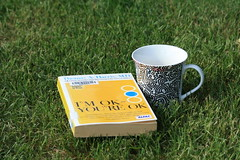 {i'm ok, you're ok} (Perpetual*Bliss) Tags: seattle morning green cup coffee grass yard garden book day tea outdoor lawn story mug wa eastside duvall