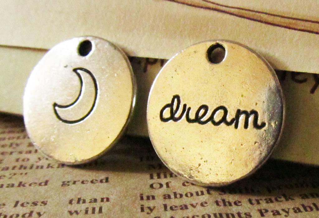 antique silver dream tag charm
