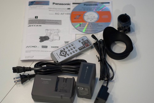 Manual, battery, charger, cables, eyecup, mic holder