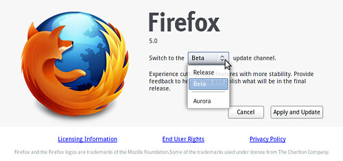 This is great. You can now change the update channel  (Release, Beta or Aurora) easily in Firefox.