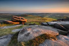 Warm rocks at Higger Tor (Paul Newcombe) Tags: uk sunset england english landscape nationalpark rocks view britain heather derbyshire peakdistrict wideangle british peaks tamron eveninglight gritstone latelight 1024 overowlertor nearhathersagenearsheffield