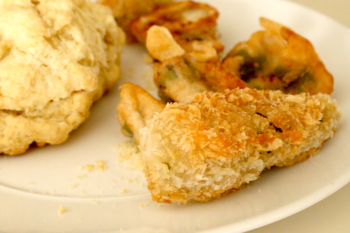 Fried Okra and Biscuits