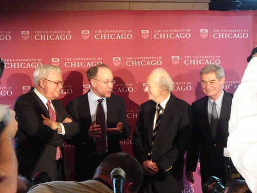 Prof. Roger Myerson at University of Chicago Press Conference for his 2007 Nobel Prize in Economics