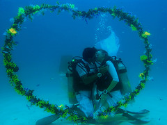 romance in underwater (muha...) Tags: blue wedding flower love water photographer underwater heart lagoon romance class diamond maldives vows renewal kurumba sunisland maldiveislands muha muhaphotos diamondclassphotographer deepbluedivers