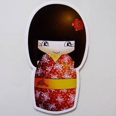 Kokeshi Magnet (Eskimimi) Tags: uk japan wooden fridge doll handmade magnets refridgerator etsy kokeshi magnet apanese