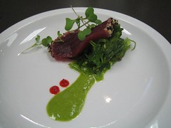 Sesame Crusted Big Eye Tuna with Ocean Salad and Micro Wasabi